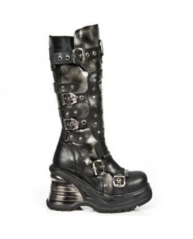 Botte noire et argentée en cuir New Rock M.8353-C1