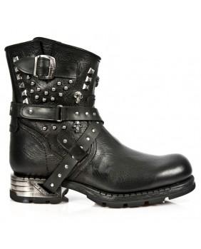 Black leather boots New Rock M.MR021-C1