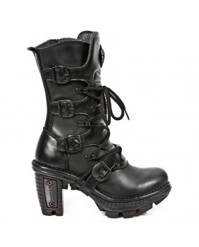 Black leather boot New Rock M.NEOTR005-S8