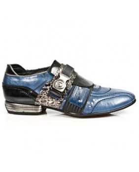 Sapatilha azul e negra en couro New Rock M.8406-C3