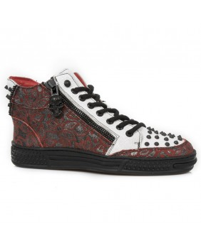 Red and white leather rising sneaker New Rock M.PS039-C7