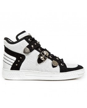 White and black leather rising sneaker New Rock M.PS014-C5