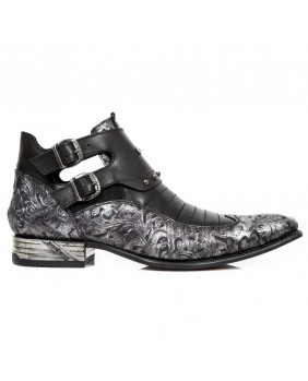 Lilac and black leather ankle boots New Rock M.NW151-C1