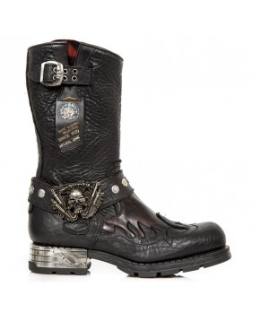 Botte noire en cuir New Rock M.MR036-C1