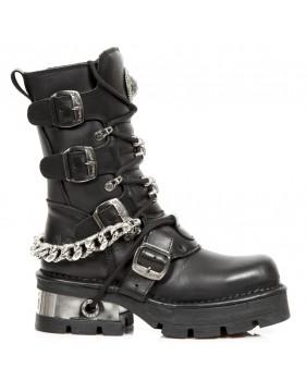 Stivali nera in pelle New Rock M.1053-C1