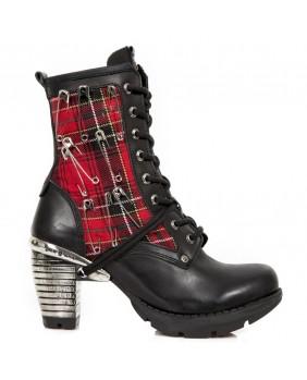 Bottine noire et rouge en cuir et textile New Rock M.TR027-S1