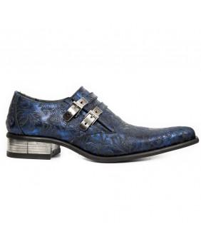 Chaussure bleue en cuir New Rock M.2246-S54