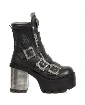 Bottine noire en cuir New Rock M.SEVE23-C1