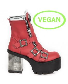 Stivaletti rosso e argentata in pelle vegan New Rock M.SEVE23-C2