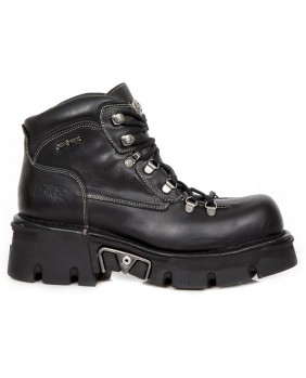Chaussure montante noire en cuir New Rock M.1344-C10