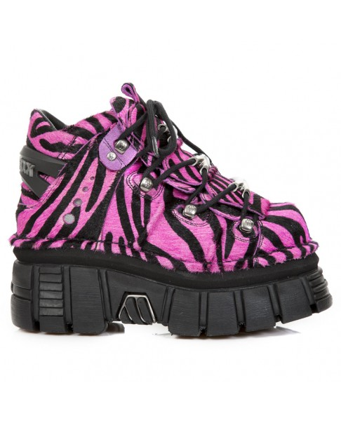 sneakers for cheap 4d8d0 84644 Fushia and black leather and bovine fur shoes New Rock M.106-S32