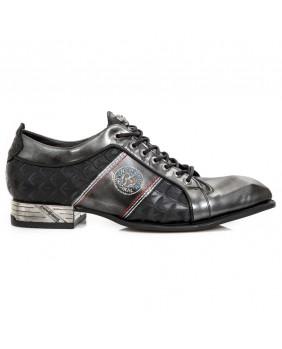 Chaussure acier et noire en cuir New Rock M.DIAMOND001-C1
