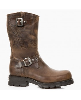 Botte marron en cuir New Rock M.7601-C5