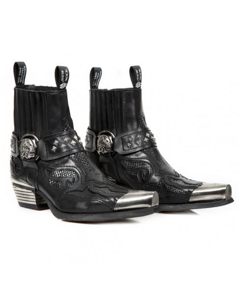 a3e062fb9e7 Black leather boots New Rock M.WST005P-C1