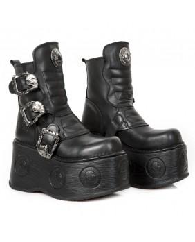 Botte noire en cuir New Rock M.1482X-C9