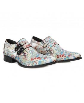 Chaussure multicolore et blanche en cuir Vegan & textile New Rock M.NW2288-V23