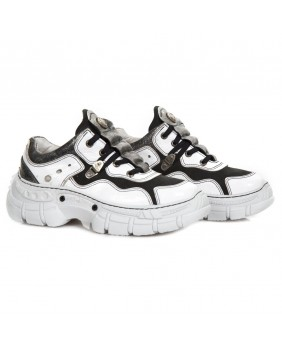 White and black leather and nubuck sneakers New Rock M-CRASH001-C12