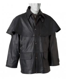Manteau Australien 3/4 cuir de buffle noir