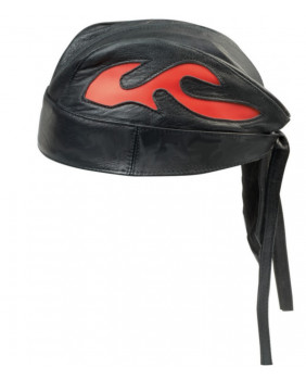 Bandana cuir noir flamme orange