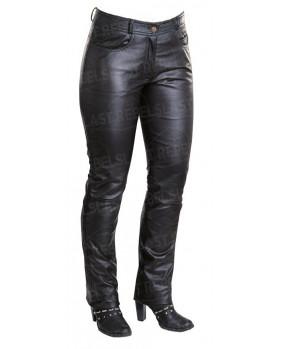 Pantalon femme en cuir agneau noir