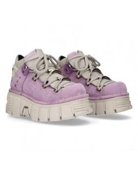 Chaussure compensée lilas en cuir et nubuck New Rock M-106N-C39
