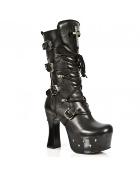Black leather boot New Rock M.DK025-C10