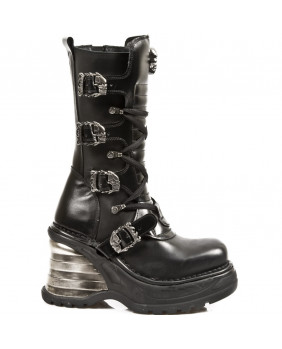 Black leather boot New Rock M.8374-S1