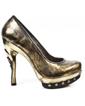 Escarpin noir et bronze en cuir New Rock M.PUNK012-C8
