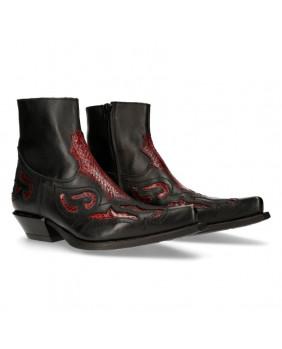 Boots noire et rouge en cuir New Rock M-WST004-C8