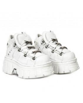 Chaussure montante blanche en cuir New Rock M-106-S53
