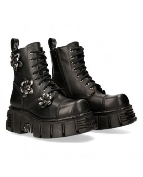 Botte noire en cuir New Rock M-MILI083CFL-C1