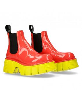 Boots orange et jaune en cuir New Rock M-1554-C16