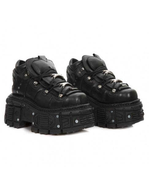 détaillant en ligne db7cc 9cfe4 Chaussure compensée noire en cuir New Rock M-TANK106-C2