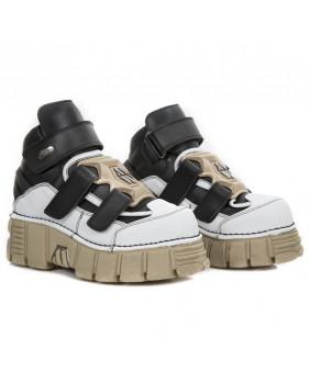 Chaussure noire et blanche en cuir Vegan New Rock M-285-V2