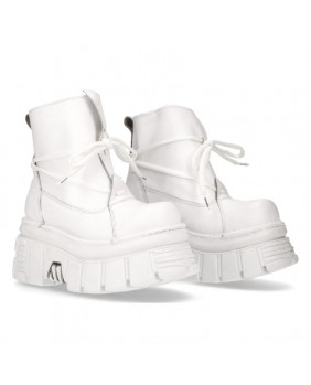White leather ankle boots New Rock M-462-C6
