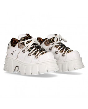 Chaussure compensée blanche et marron en cuir et fourrure bovine New Rock M-120N-S9
