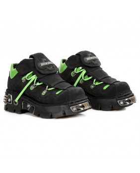 Chaussure noire et verte en nubuck New Rock M-1075-C37