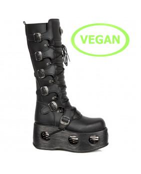Botte plateforme noire en cuir Vegan New Rock M-272-VC2