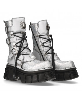 Silver Leather and synthetic wedge boot New Rock M-373PASA-C1