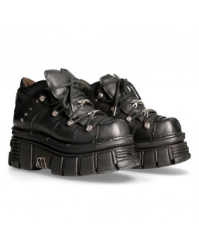 Sapato compensado negra en couro New Rock M-106N-S7
