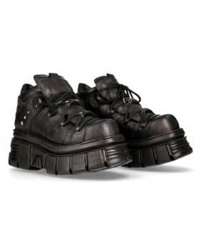 Black leather platform shoe New Rock M-106N-S52