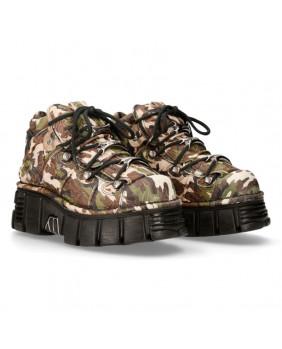 Chaussure compensée camouflage en cuir New Rock M-106-C68
