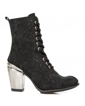 Black leather ankle boots New Rock M.TX010-C2