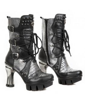 Silver and black leather imitation python boot New Rock M-NEOPUNK004-C4