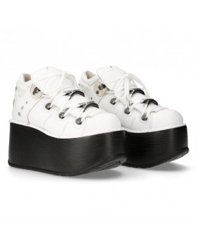 White leather shoes New Rock M-106N-S78